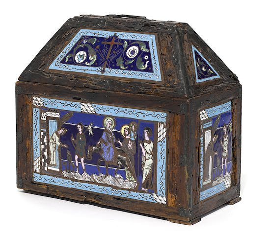 Continental Gothic Revival enamel and metal clad casket Edit