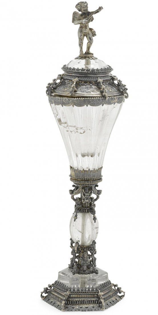 German Silver Gilt & Rock Crystal Covered Cup Edit