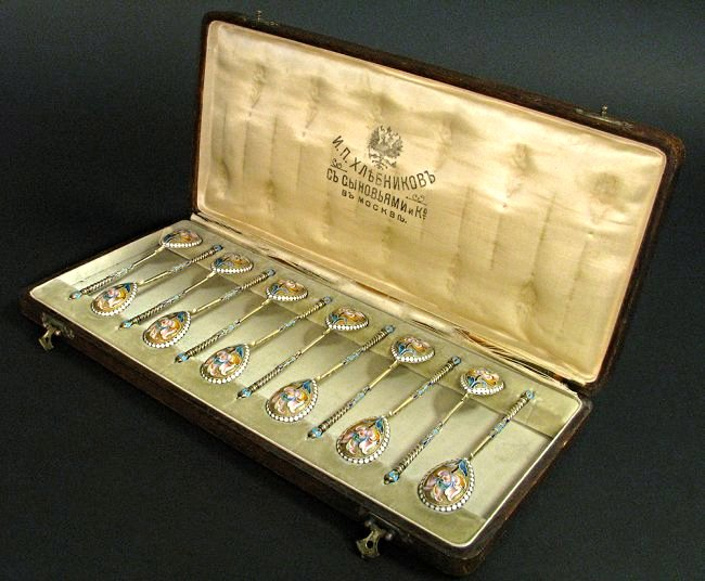A Set of Twelve Russian Silver-Gilt and Enamel Spoons