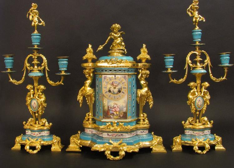 Magnificent Turquoise Blue Jeweled Sevres Clock Set