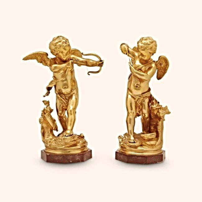 Pair of Bronze Models of Cupids Signed L. Gregoire