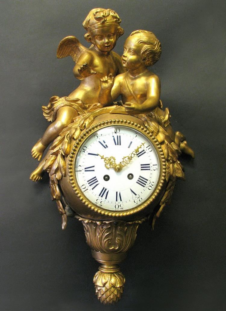 Very Fine French 19th C. Bronze Figural Cartel Clock