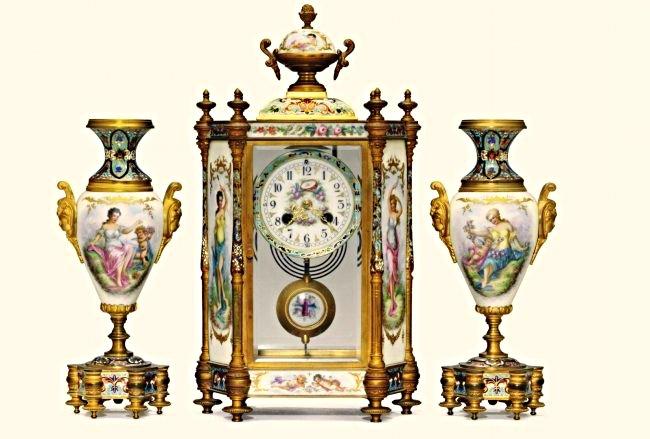 Bronze & Champleve Enamel Sevres Style Clock Set 19th C