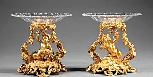Pair of French Gilt Bronze & Crystal Figural Tazze