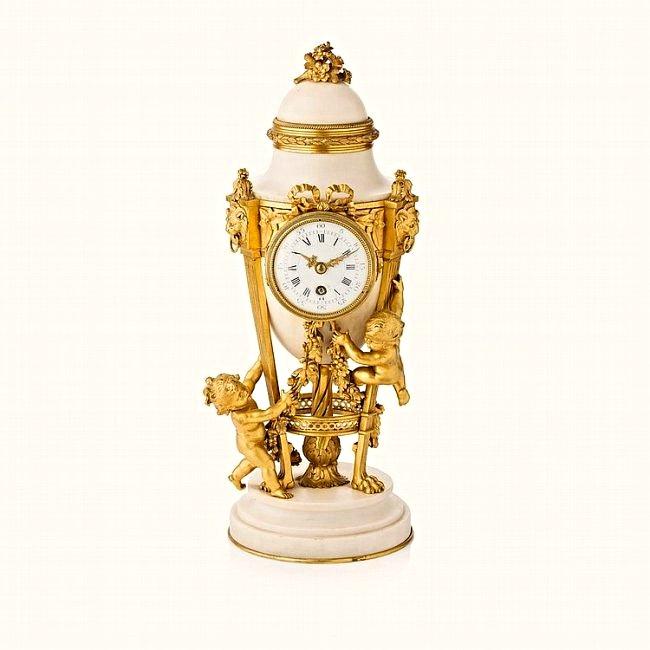 French Carrara Marble & Ormolu Urn Form Clock
