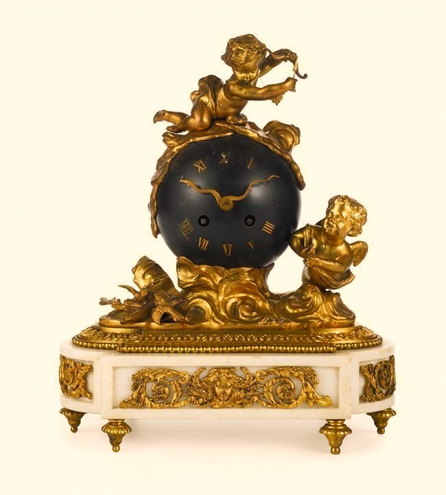 19th C. Gilt Bronze and Marble Figural Clock