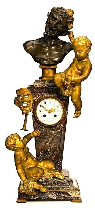 Large 19th C. Bronze and Rouge Marble Figural Clock