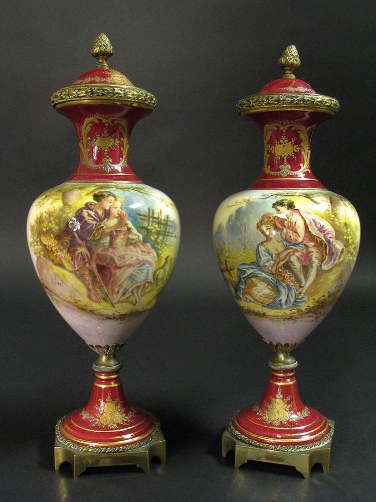19th C. Pair of Sevres Style Red Urns/Vases