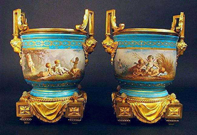 Pair Bronze Mounted Sèvres Cache Pots by H. Picard