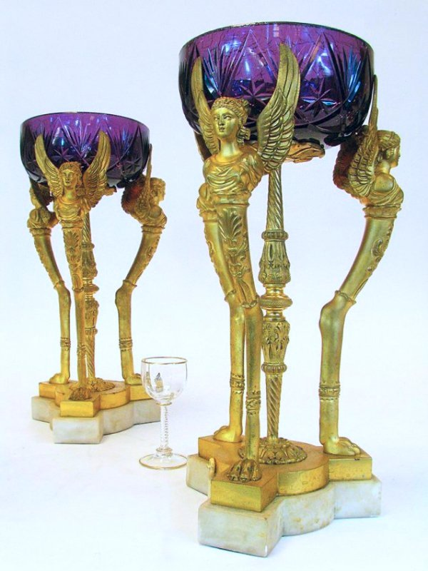 Pair 19th C. Empire Style Dore Bronze & Amethyst Lamps
