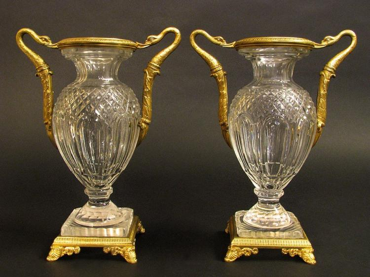 19th C. Pair of Bronze & Baccarat Crystal Vases