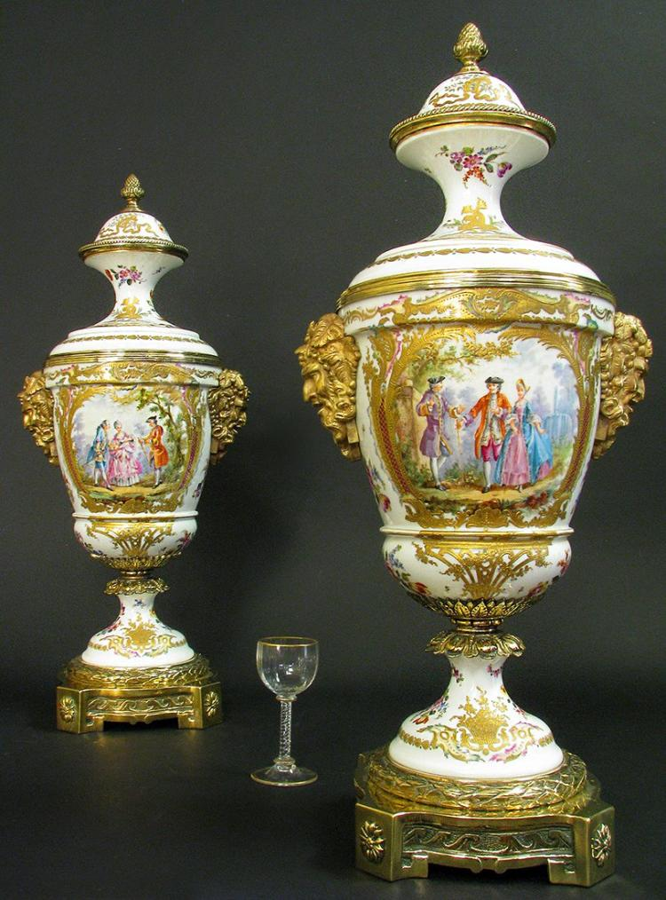 Magnificent Pair of 19th C. Bronze Mounted Sevres Urns