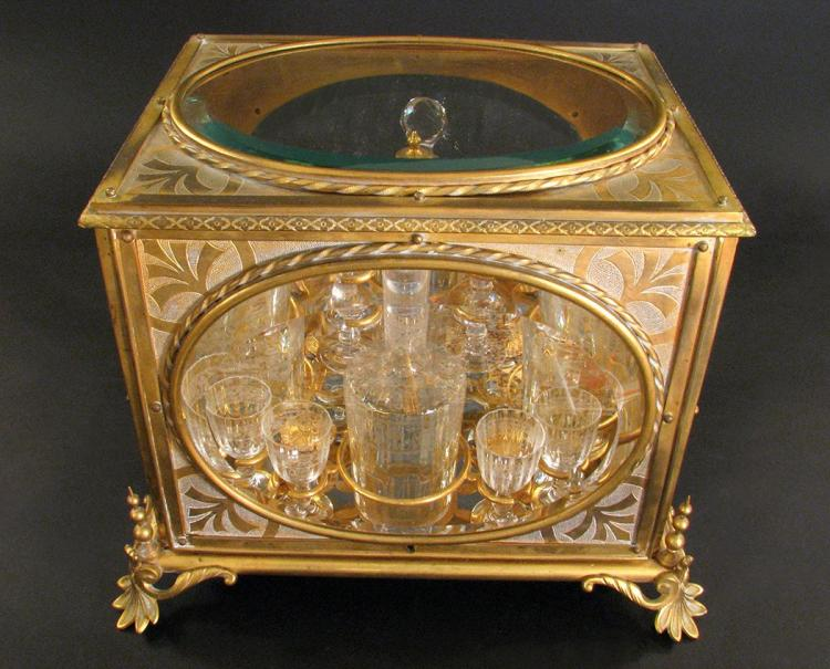 19thCent. French Bronze & Baccarat Crystal Tantalus