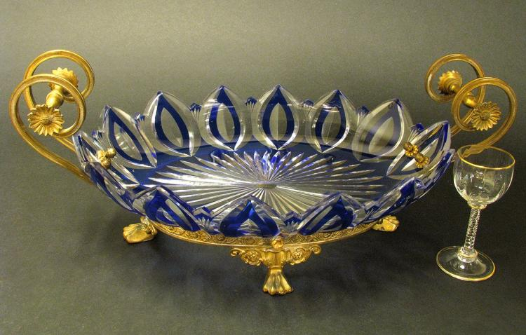 Impressive 19th C. Bronze/Baccarat Glass Centerpiece