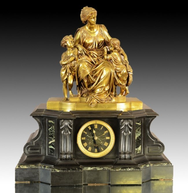 A MAGNIFICENT 19TH C. GILT BRONZE AND MARBLE CLOCK