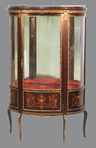 19th C. FRENCH INLAID BRONZE MOUNTED VITRINE