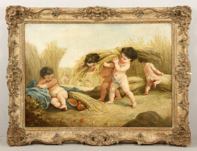 19th C. French Oil on Canvas Putti in A Wheat Field