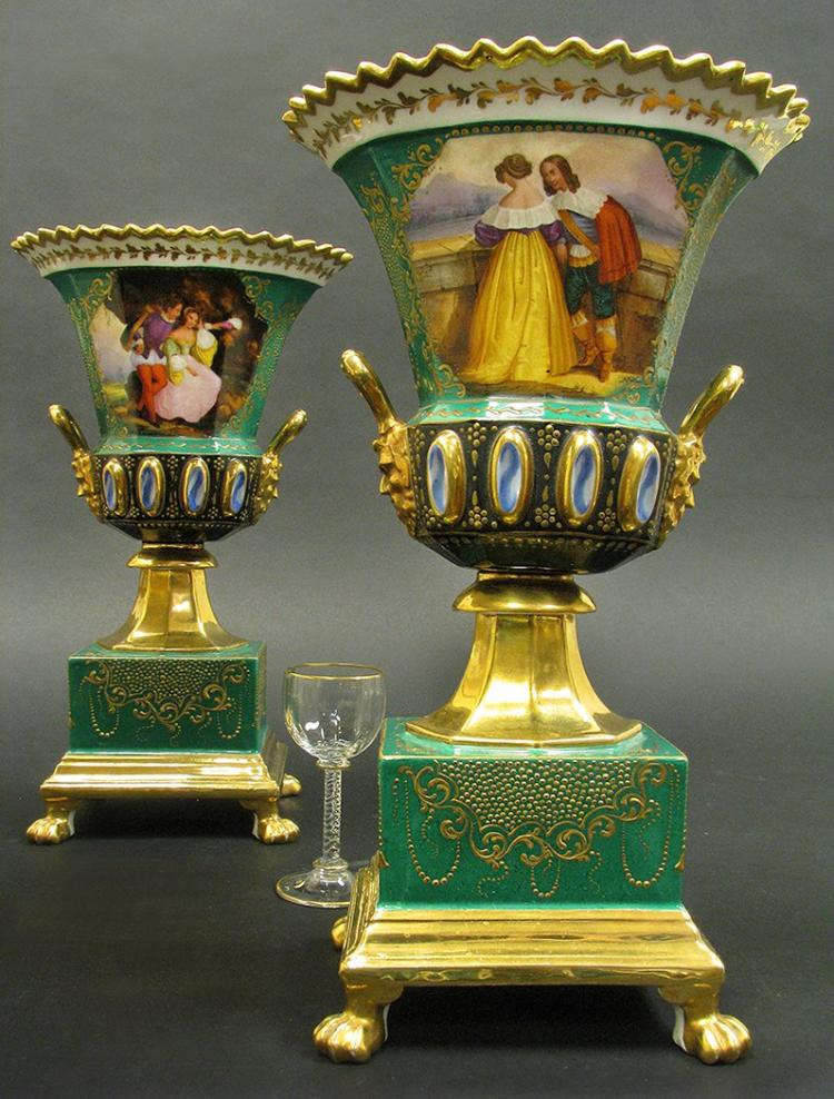 Pair of Hand Painted Paris Porcelain Urns