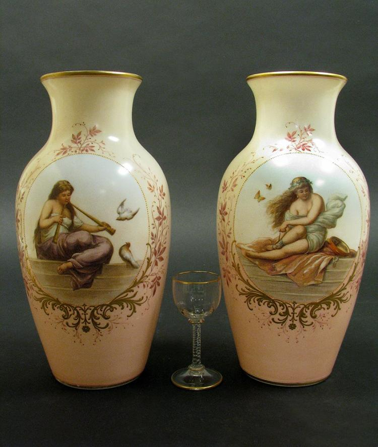 19th C. Pair of Hand Painted Baccarat Opaline Vases