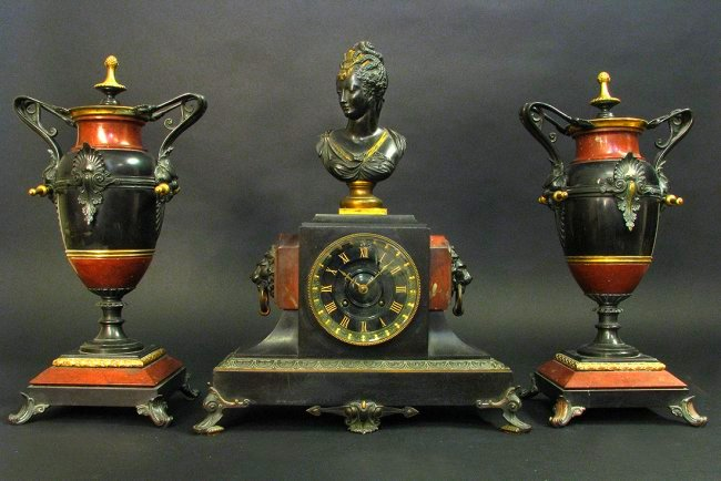 Fine quality 19th C Red and Black Marble Clock Set