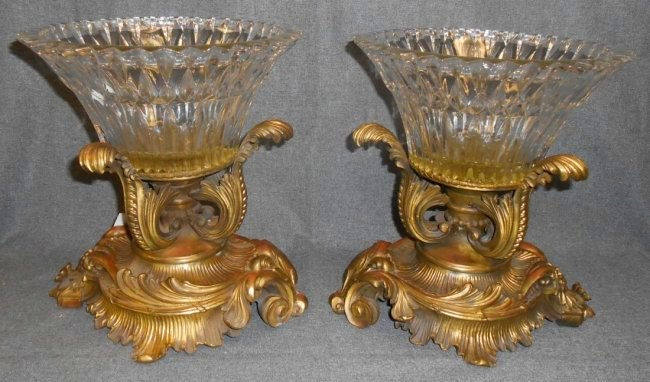 Pair of Bronze and Crystal Bowl Baccarat Quality