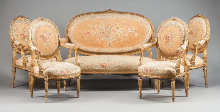 19th C. Aubusson Tapestry 5 Piece Gilt Wood Salon Set