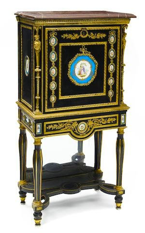 French Bronze & Porcelain Mounted Secretaire a Abbatant