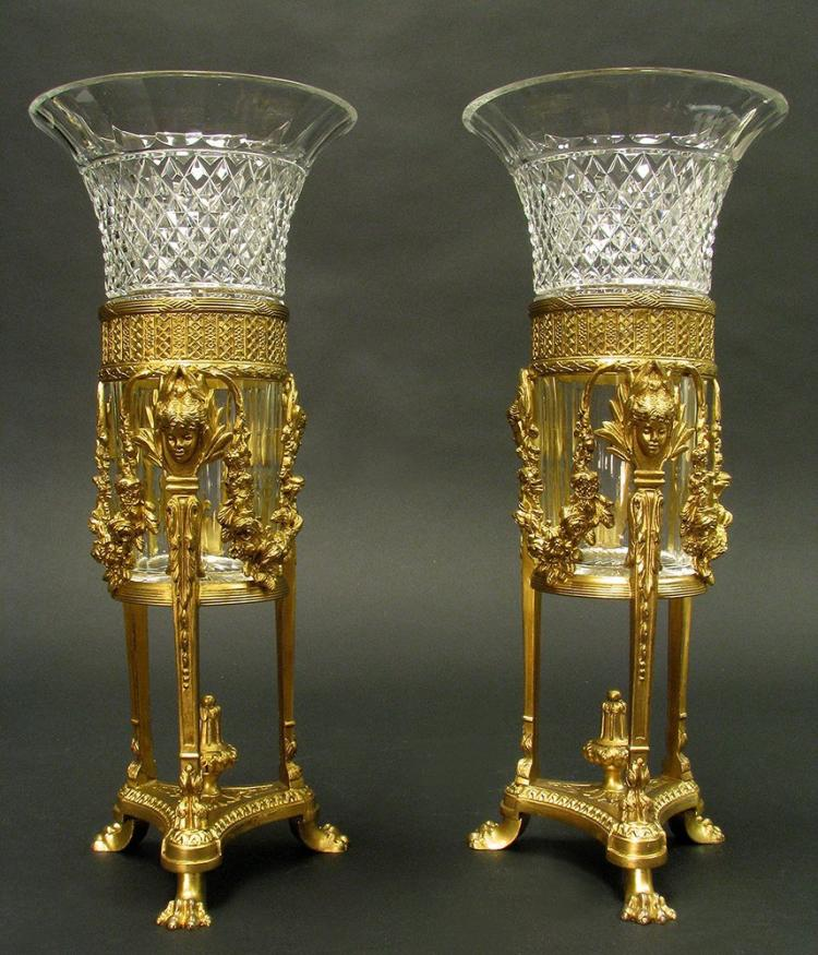 Magnificent Pair Baccarat Bronze & Crystal Vases 19th C