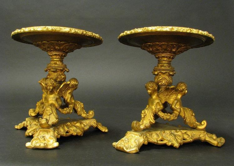 19th C. Pair of Bronze Tazzas with 3 cupids