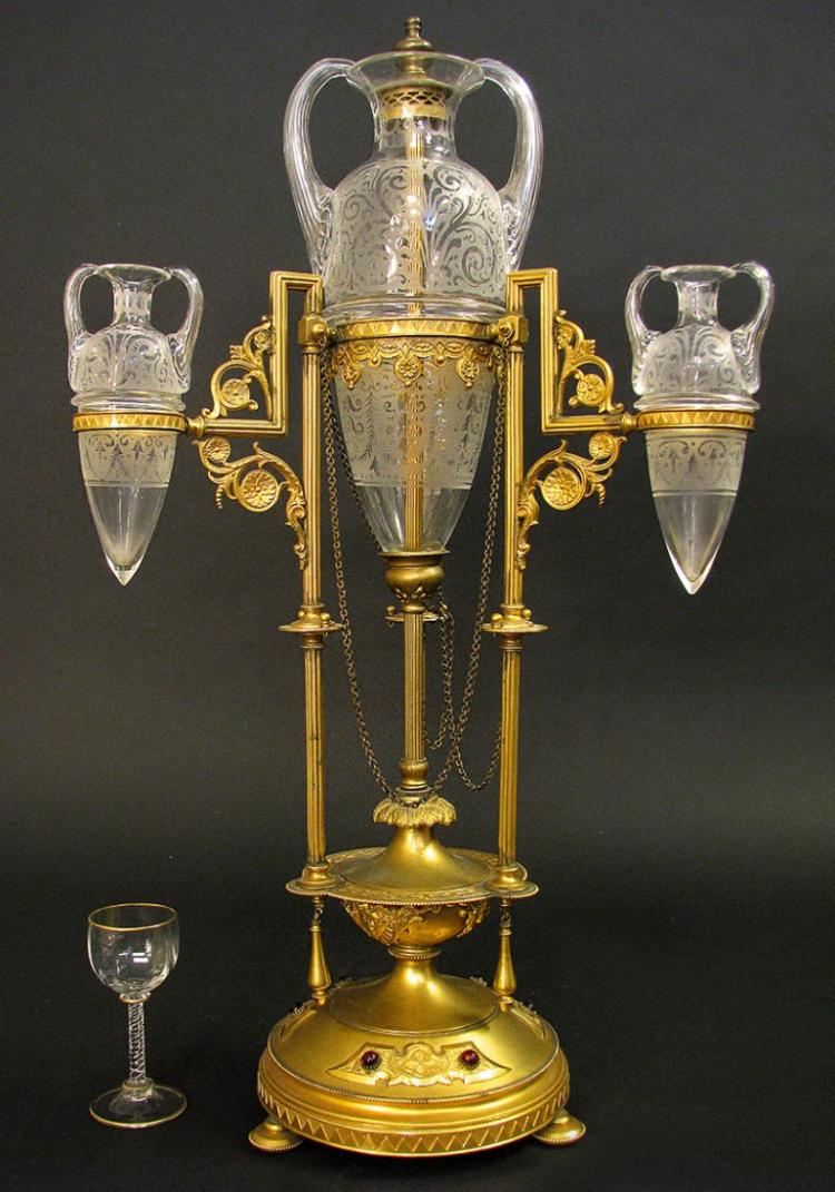 An Aesthetic Bronze and Baccarat Crystal Centerpiece