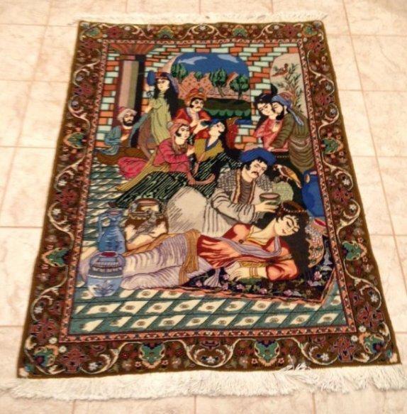 Semi-Antique Persian Pictorial Rug, Tabriz