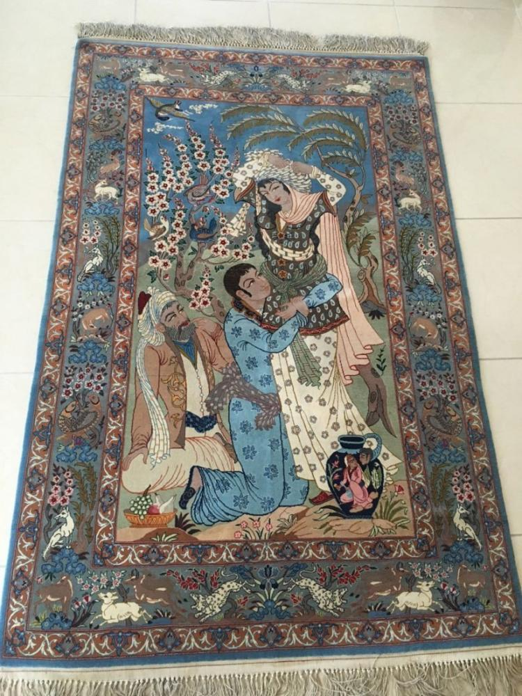 Semi-Antique Persian Pictorial Rug, Isfahan