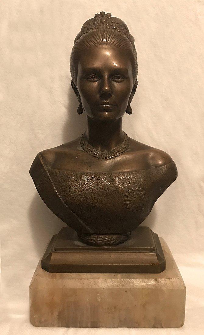 Antique Persian Royal Farah Pahlavi Bronze Statue