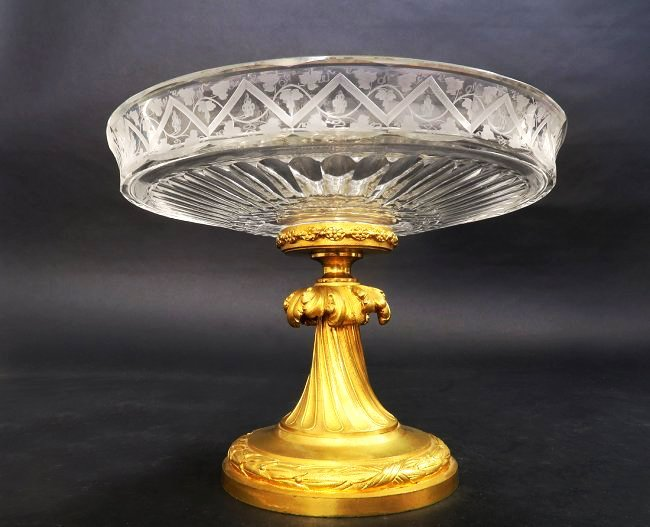 A Signed Baccarat Bronze & Crystal Centerpiece
