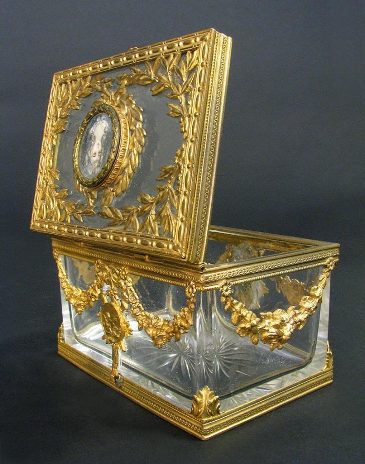 19th C. French Bronze & Baccarat Crystal Jewelry Box