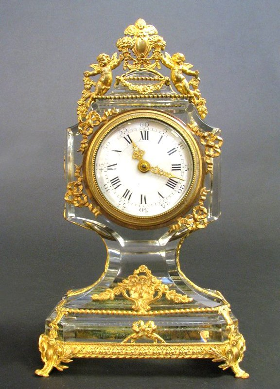 19th C.French Bronze & Baccarat Crystal Clock