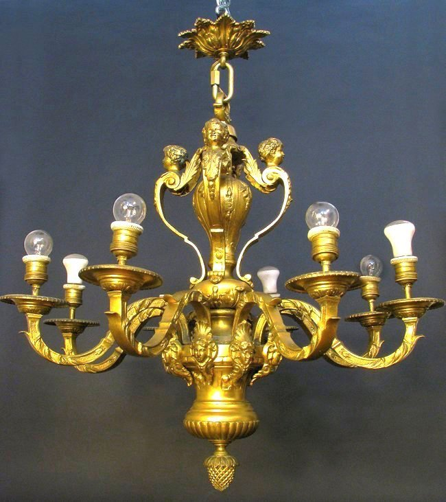 19th C. French Gilded Bronze Figural Chandelier