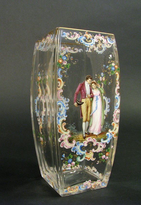 19th C. Hand Painted Lobmeyr Vase