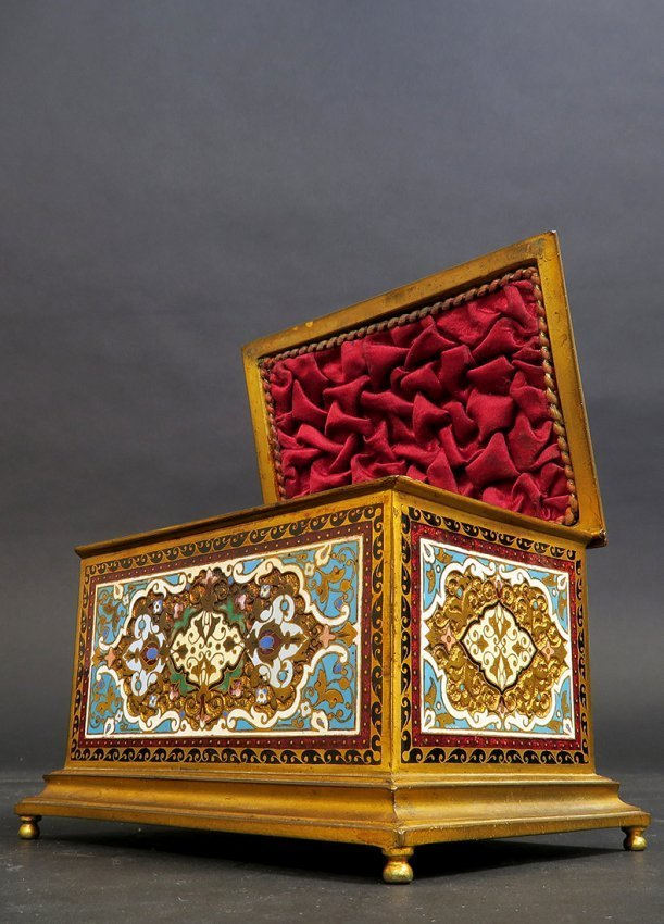 French Gilt-Bronze and Cloisonne Enameled Trinket Box