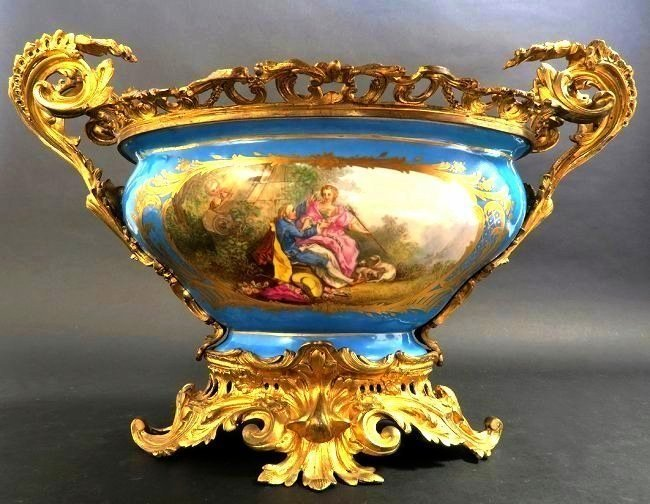 19th C. Monumental Turquoise Blue Sevres Centerpiece