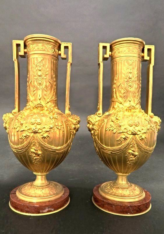 Figural Gilt Bronze & Rouge Marble Vases (Barbedienne)