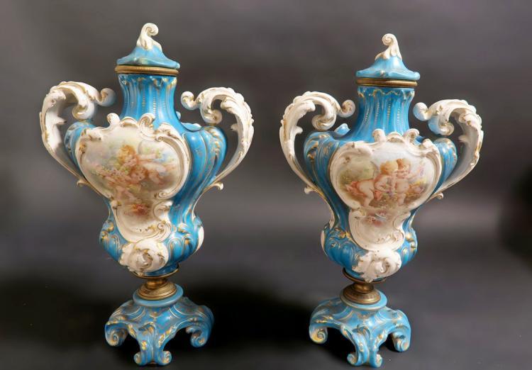Magnificent 19th C. French Sevres Porcelain Vases/Urns