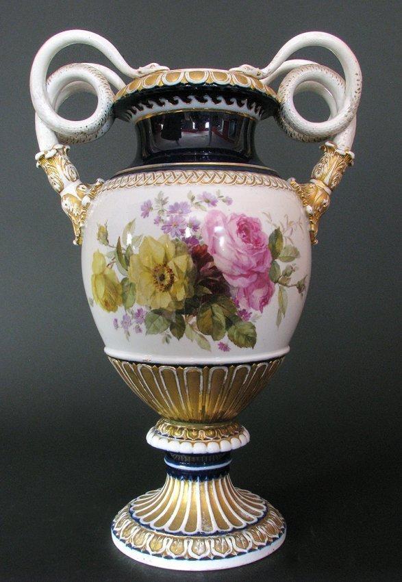 Meissen Cobalt Snake Handled Vase with Flowers