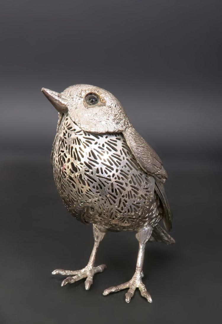Pair of Silver Plated Christofle Robin Birds