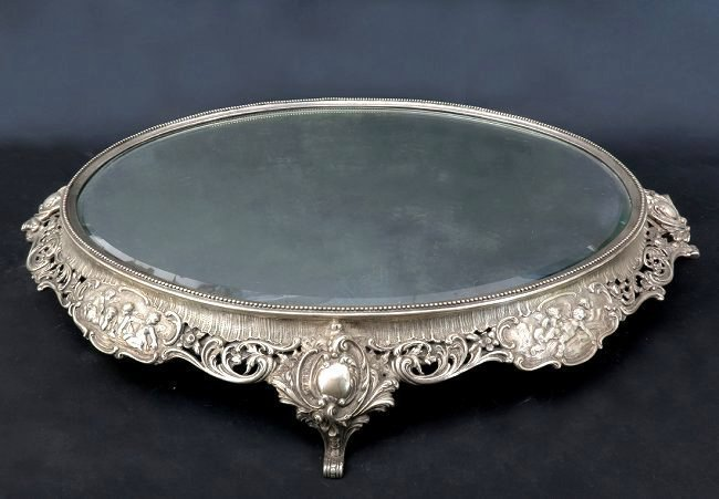 A Hanau .800 silver mirrored plateau, J.D. Schleissner