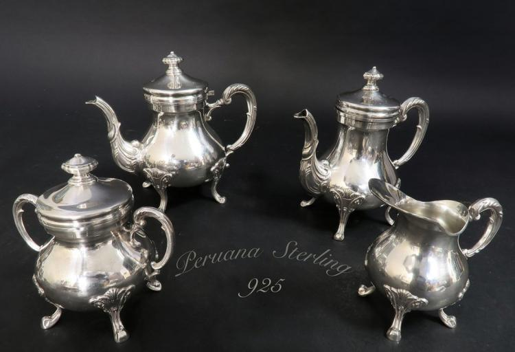 Set of Peruana Sterling Silver Tea Set