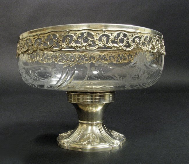 19th C. German Silver and Baccarat Crystal Tazza