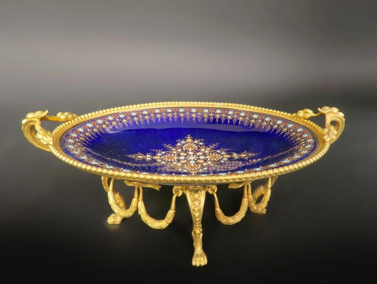 French Jeweled Bronze & Sevres Porcelain Centerpiece