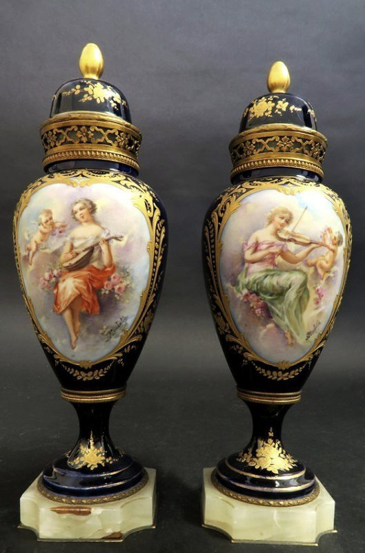19th C. French Cobalt Blue & Onyx Sevres Urns