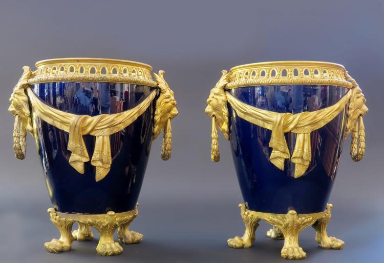 Very Fine 19th C. Pair of Sevres Vases/Jardinieres